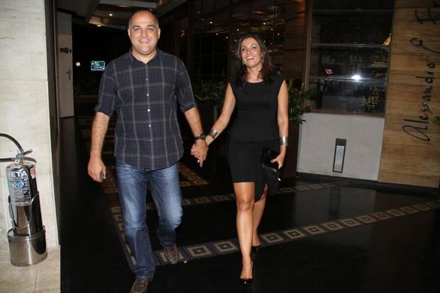 Patrícia Poeta com o marido Amauri Soares no aniversário de Tande no Rio (Foto: Daniel Delmiro/ Ag. News)