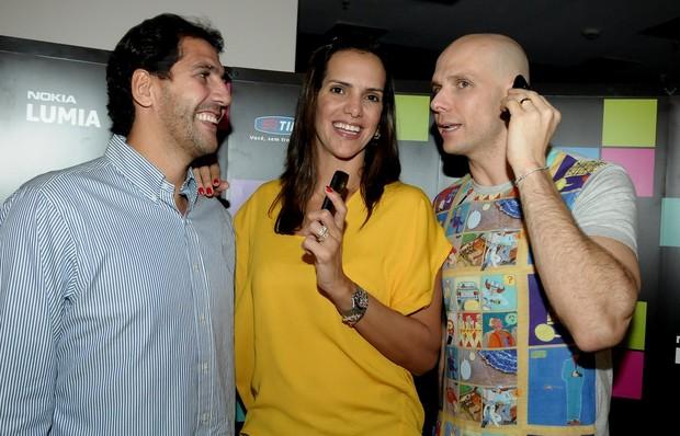 Os ex-atletas Maurício, Virna e Fernando Scherer em evento em São Paulo (Foto: Francisco Cepeda/ Ag.News)