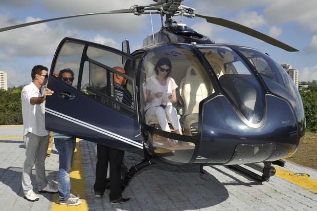 Helicóptero com familiares de Chico Anysio (Foto: Alex Carvalho/TV GLOBO)