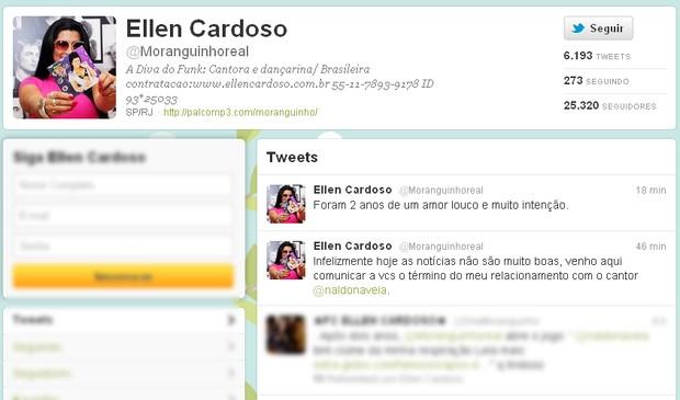 Mulher Moranguinho anuncia, no Twitter, separação de Naldo (Foto: Twitter / Reprodução)