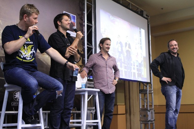 Misha Collins, Mark Pellegrino, Richard Speight e Mark Sheppard, de Supernatural (Foto: Raphael Mesquita/Photorio News)