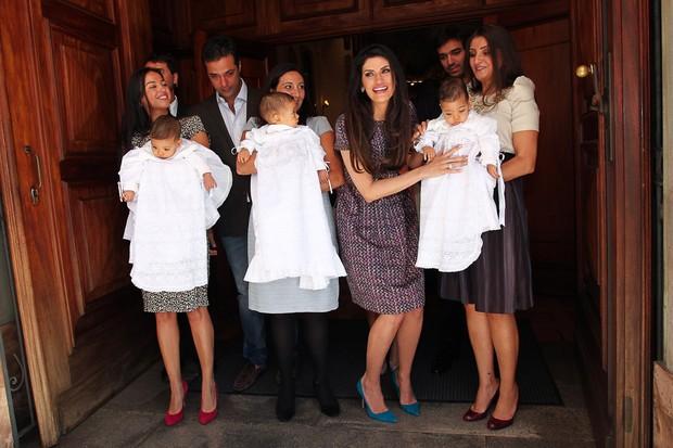 Isabella Fiorentino no batizado dos seus trigêmios Bernardo, Nicholas e Lorenzo (Foto: Manuela Scarpa/Photo Rio News)