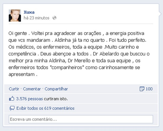Xuxa fala no Facebook sobre recuperação da mãe (Foto: Facebook / Reprodução)