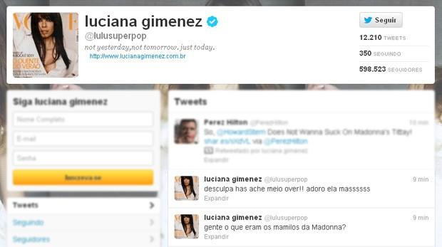 Luciana Gimenez posta sobre os mamilos de Madonna (Foto: Twitter / Reprodução)