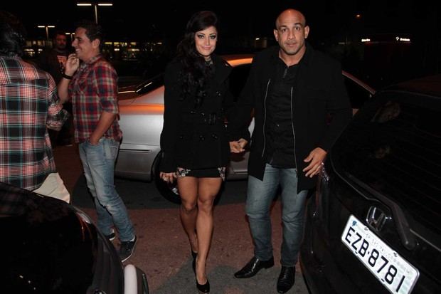 Aline Riscado e o marido, o lutador de MMA Rodrigo Riscado, em festa em S&#227;o Paulo (Foto: Orlando Oliveira/ Ag. News)