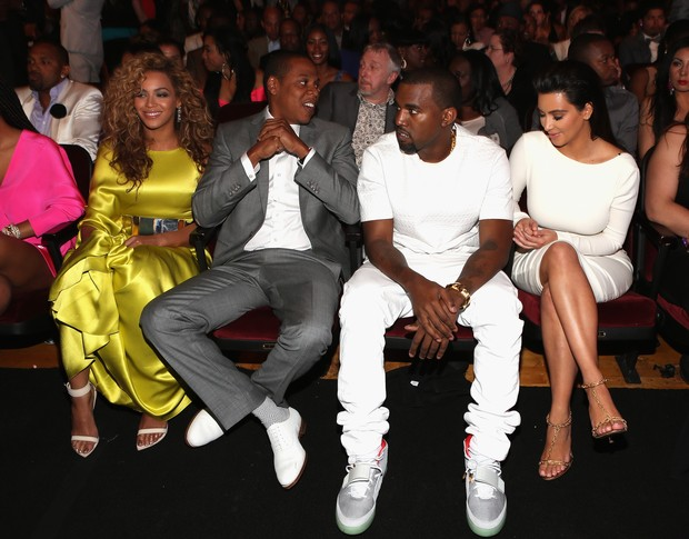 Beyoncé, Jay-Z, Kanye West e Kim Kardashian no BET Awards, em Los Angeles, nos Estados Unidos (Foto: Getty Images/ Agência)