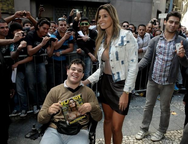 Mari Paraiba no lançamento da Playboy em SP (Foto: Francisco Cepeda/AgNews)