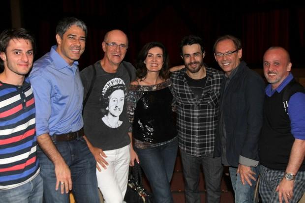 Hugo Bonemer ao lado de William Bonner, Marcos Caruso e Fátima Bernardes (Foto: Daniel Delmiro / AgNews)