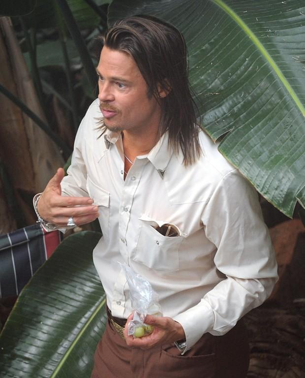 Brad Pitt em filmagens do longa 'The Counselor' em Londres, na Inglaterra (Foto: Grosby Group/ Agência)