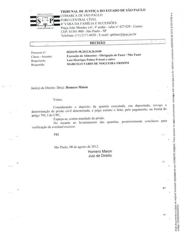 Documento que comprova a extinção do processo contra Marcelo Frisoni (Foto: Reprodução/Divulgação)