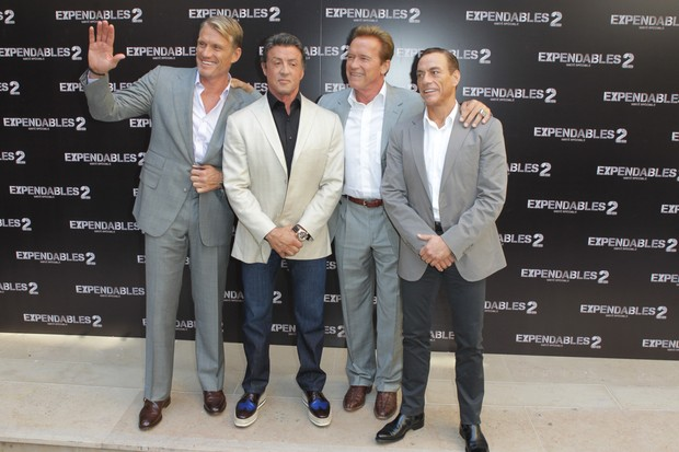 Dolph Lundgren, Sylvester Stallone, Arnold Schwarzenegger and Jean-Claude Van Damme (Foto: Getty Images / Agência)