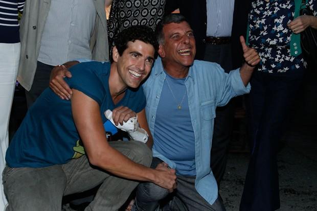 Reynaldo Gianecchini e Jorge Fernando na coletiva de 'Guerra dos Sexos' (Foto: Milene Cardoso e Amauri Nehn / AgNews)