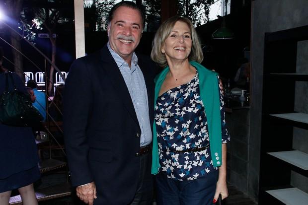 Tony Ramos e Irene Ravache na coletiva de 'Guerra dos Sexos' (Foto: Milene Cardoso e Amauri Nehn / AgNews)