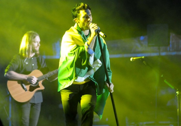 Adam Levine, do Maroon 5, em show em São Paulo (Foto: Francisco Cepeda/ Ag.News)