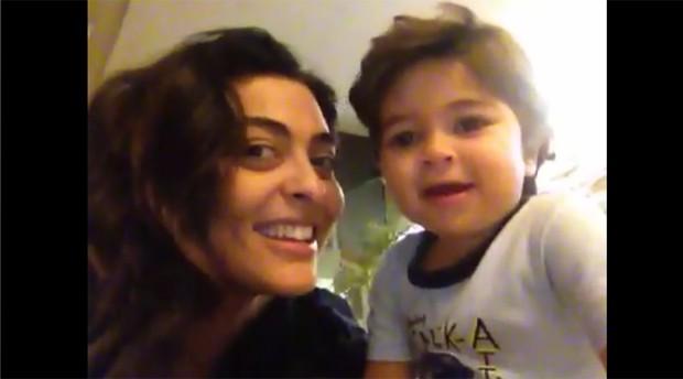 Fofura! Juliana Paes posta vídeo do filho cantando tema de 'Gabriela'