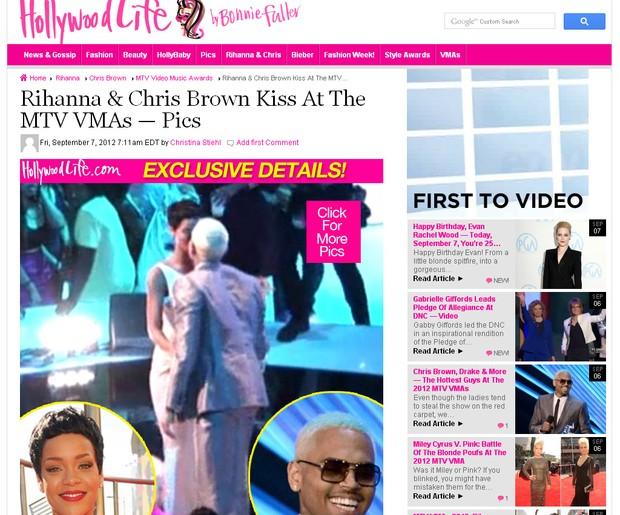 Rihanna e Chris Brown se beijam (Foto: Reprodução / hollywoodlife.com)