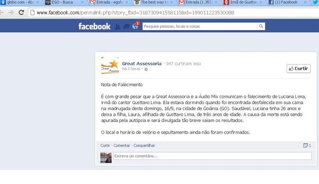 Reprodução do comunicado da assessoria de Gusttavo Lima (Foto: Reprodução/Facebook)