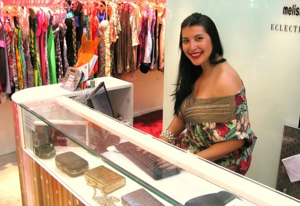 Priscila Pires apresenta nova coleção da loja it Brasil, em um shopping da Zona Norte do Rio (Foto: Léo Martinez/EGO)