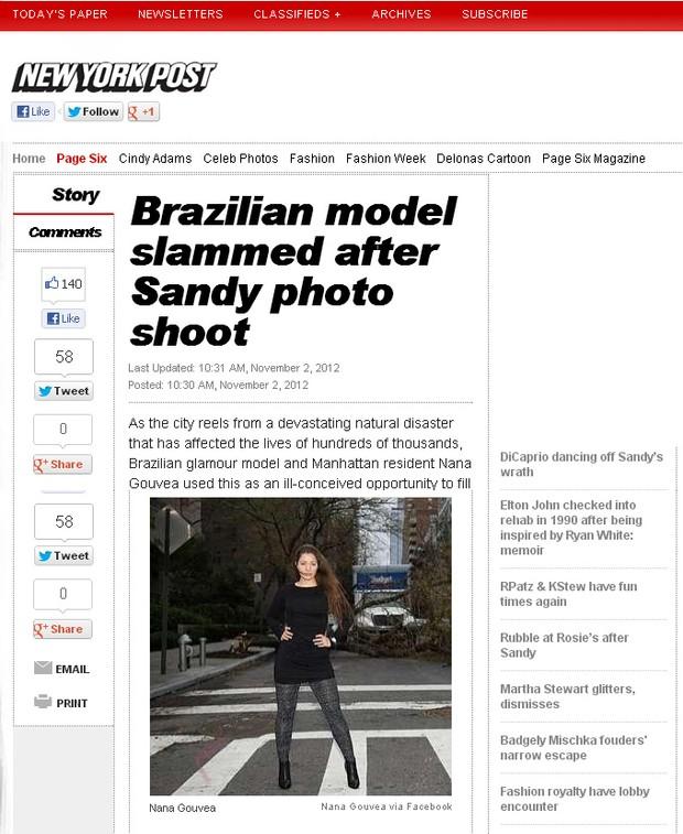 NY Post sobre Nana Gouvea (Foto: Reprodução / nypost.com)
