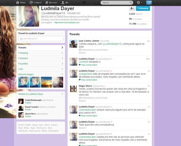 No Twitter, Ludmila Dayer critica Nana Gouvêa (Foto: Reprodução/Twitter)