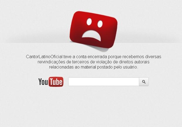 Latino teve conta no youtube encerrada (Foto: Reprodução / Youtube)
