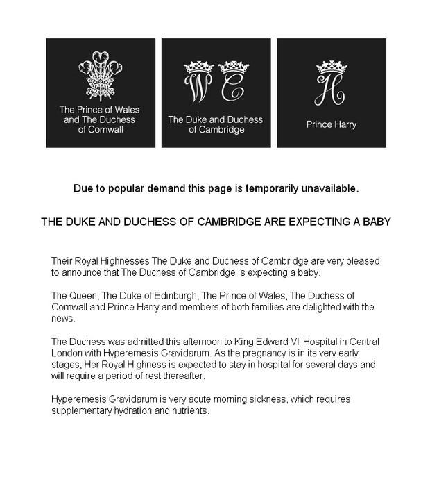 Comunicado no site de Kate Middleton e Príncipe William (Foto: Reprodução)