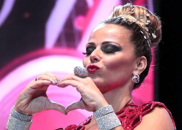Viviane Araújo na gravação da vinheta de carnaval Globeleza (Foto: Isac Luz / EGO)