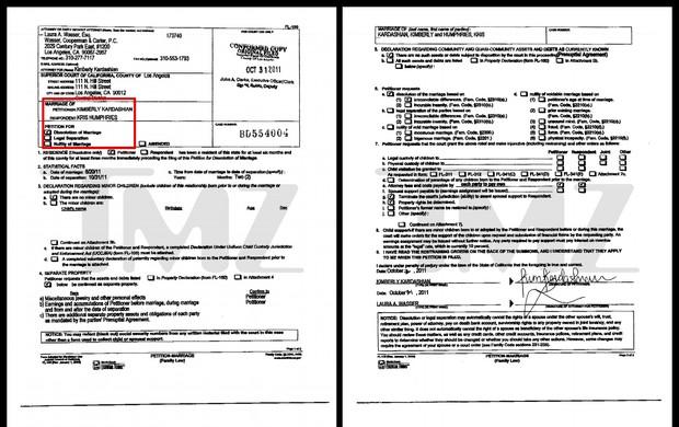 Documento de entrada no divórcio de Kim Kardashian (Foto: TMZ / Reprodução)