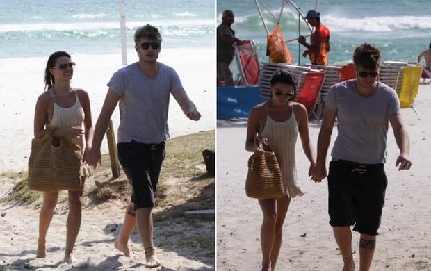 Isis Valverde curte praia com o namorado, no Rio (Foto: Adilson Lucas / AgNews)