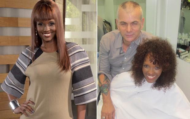À esquerda, Isabel Fillardis com o cabelo antigo e, à direita, com o novo visual (Foto: Divulgação)