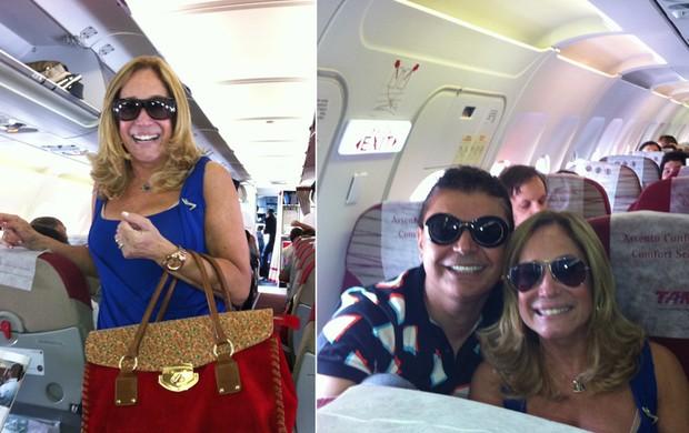 David Brazil tira foto com Susana Vieira em avião (Foto: Twitter / Reprodução)