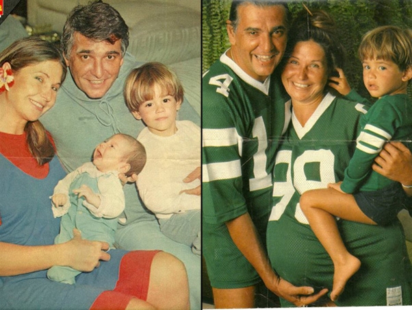 Pepita e Carlos Eduardo Dolabella com os filhos Dado (de franjinha) e Fernando. Ao lado, Fernando ainda na barriga da mãe. (Foto: Facebook / Reprodução)