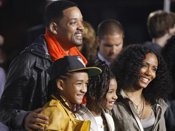 Will Smith com a mulher Jada Pinkett Smith e os filhos Jaden e Willow (Foto: Reuters / Agência)