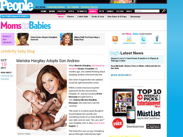 Mariska Hargitay e filhos (Foto: Reprodução/Revista People)