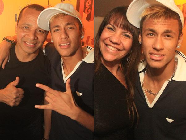 Neymar com o pai e com uma amiga (Foto: Marco Macedo/Divulgação)