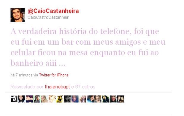 Caio Castro esclarece post de telefone (Foto: Twitter / Reprodução)