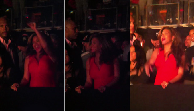 Beyoncé dançando na platéia (Foto: YouTube / Reprodução)