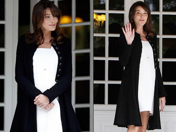 Carla Bruni teve sua primeira filha, Giulia, da união com Nicolas Sarkozy, aos 43 anos. Ela já era mãe de Aureliano, fruto de seu relacionamento com Raphael Enthoven