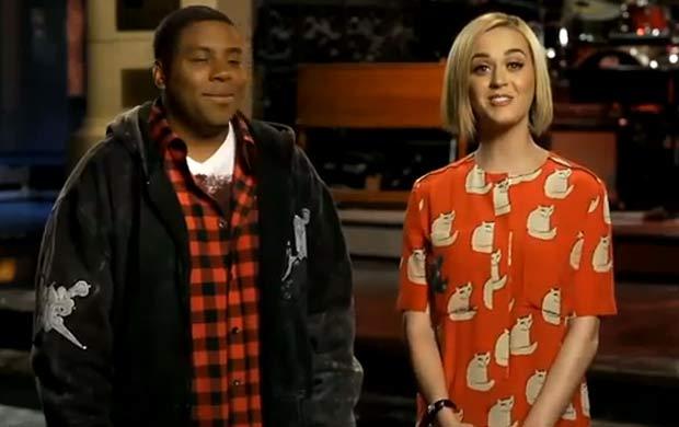 Katy Perry aparece ainda mais loira em programa de TV (Foto: Reprodução/You Tube)