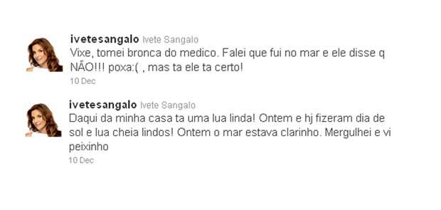Ivete Sangalo diz no Twitter que levou bronca do médico após mergulhar (Foto: Reprodução/Twitter)