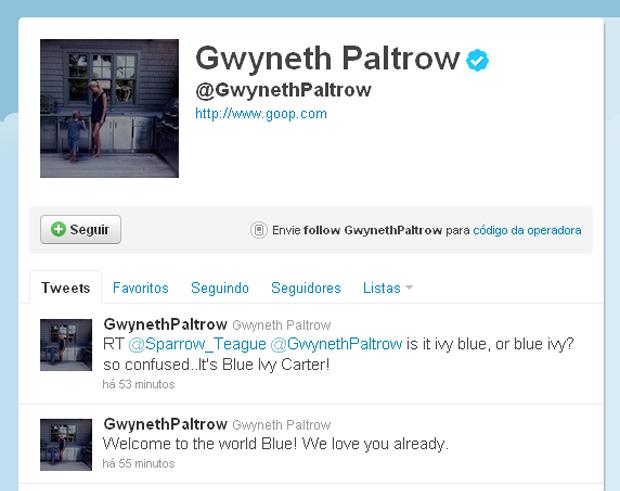 Gwyneth Paltrow twita sobre nascimento do filho de Beyoncé (Foto: Twitter / Reprodução)