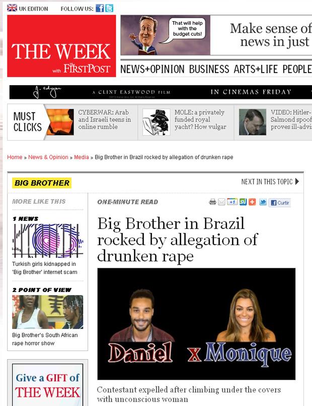 Sites internacionais repercutem o caso de abuso no 'BBB 12' (Foto: Reprodução)