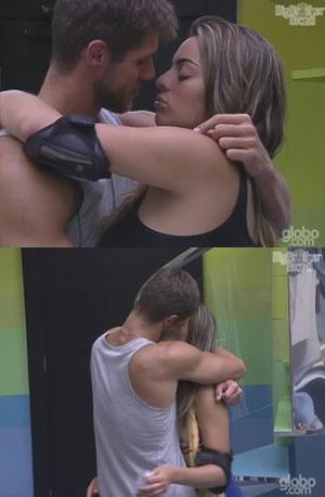 Jonas e Monique se beijam depois da festa Aquarius na madrugada de domingo, 29, no BBB (Foto: BBB)