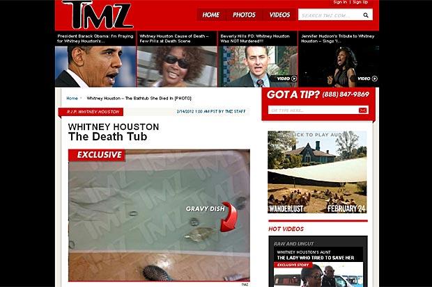 Site divulga foto da suposta banheira onde teria morrido Whitney Houston (Foto: Reprodução/TMZ)