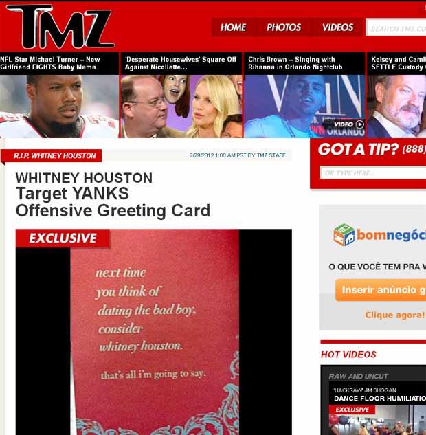 Cartão faz piada ofensiva com Whitney Houston e é retirado das lojas (Foto: Reprodução/TMZ)
