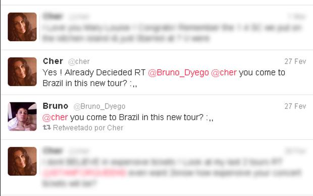 Cher fala sobre vinda ao Brasil (Foto: Twitter / Reprodução)