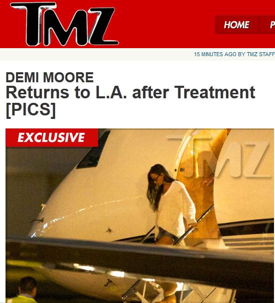 TMZ mostra Demi Moore voltando da reabilitação (Foto: Reprodução TMZ)