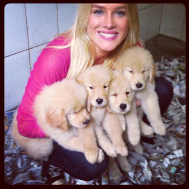 Fiorella Matheis com cachorrinhos (Foto: Twitter)