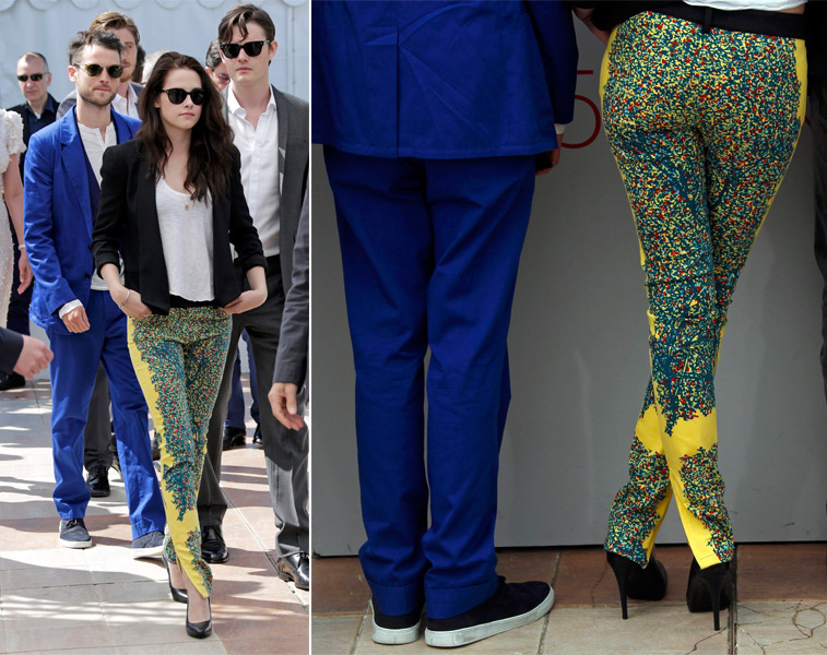 Kristen Stewart escolheu um modelo floral da grife Balenciaga para participar de uma entrevista em Cannes