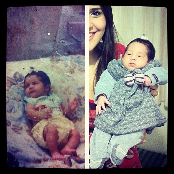 Perlla mostra foto de quando era bebê e de sua filha, Pérola (Foto: Reprodução / Twitter)